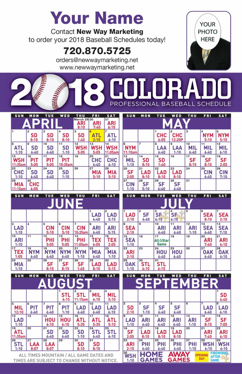 Postcards | 2018 Professional Baseball Schedule Postcards
