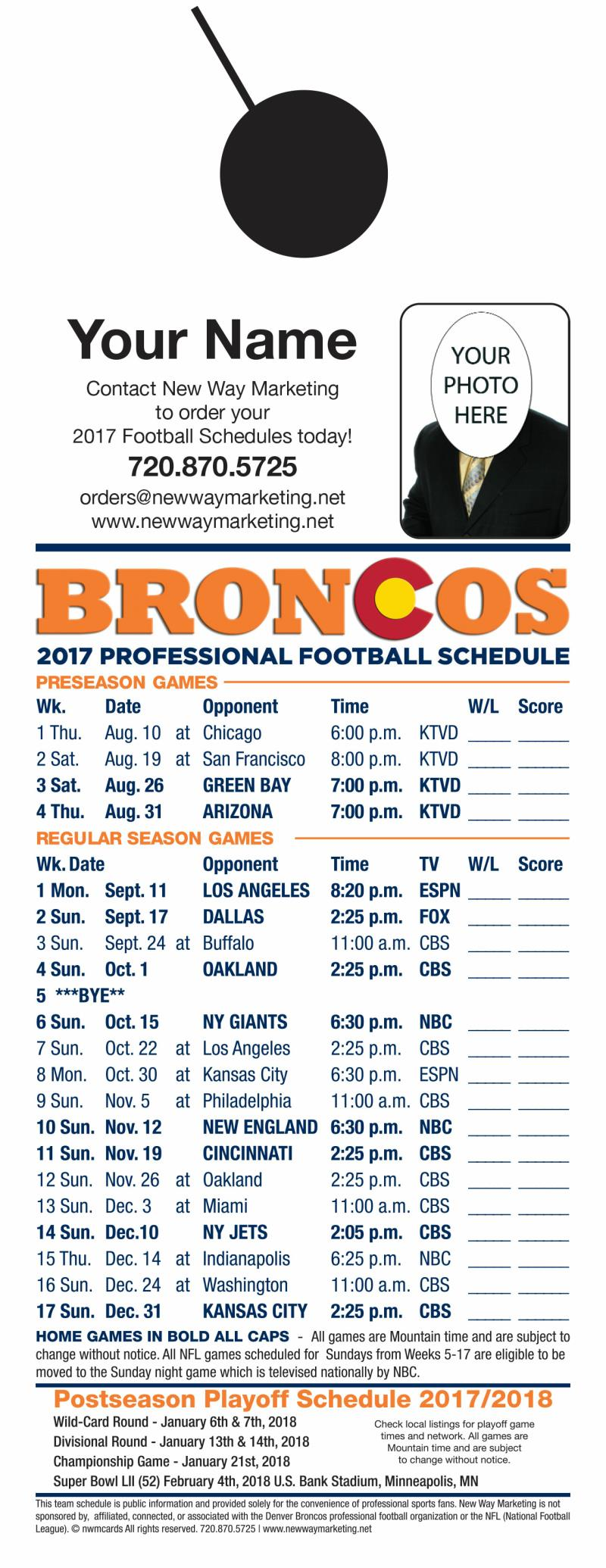 2017 Professional Football Schedules Jumbo Door Hangers