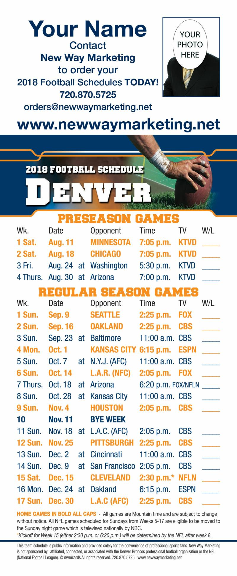 1 white 2018 broncos professional football schedule self mailer schedules have a magnetic