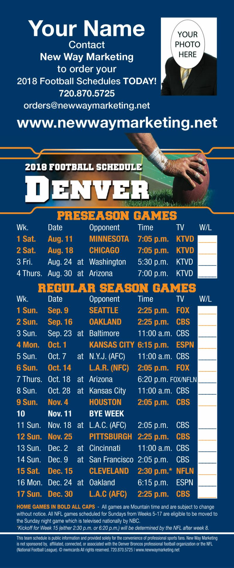 Blue green orange 2018 broncos professional football schedule self mailer schedules have