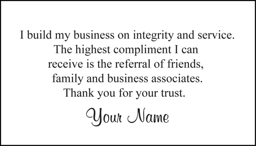 Quotes for business referral cards quotes for Referral quotes for business cards