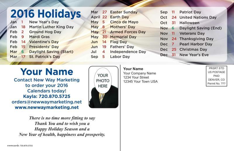 calendar postcard