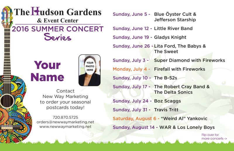 Summer concert series red rocks hudson garden denver live concerts new way marketing for Hudson gardens concert schedule
